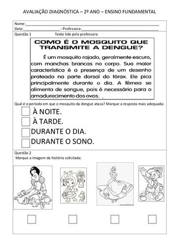 Avaliação Diagnostica de Português do 2º Ano