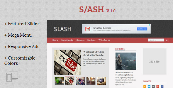 Download Slash - Tech/Magazine Blogger Template Magazine Blogger Templates