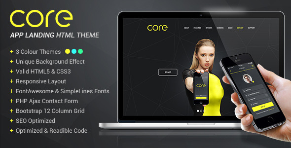 Download Core - Mobile App Landing HTML Theme Yellow Html Templates