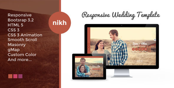 Download NIKH - Responsive HTML Wedding Template Pink Html Templates