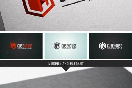 cube real estate logo template