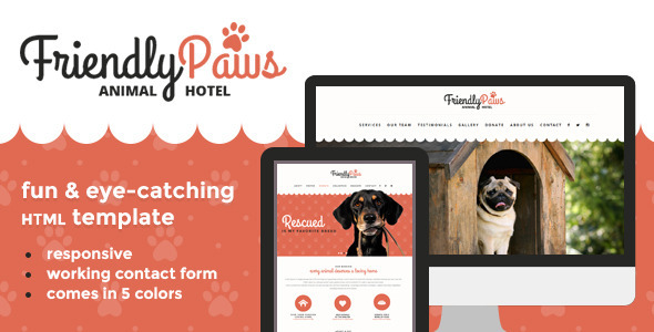 Download Paws - Friendly Animal Hotel HTML Template Cute Html Templates