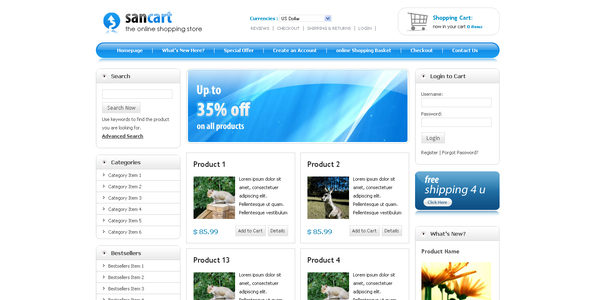 Download SANCART HTML SHOPPING CART TEMPLATE Elegant Blogger Templates