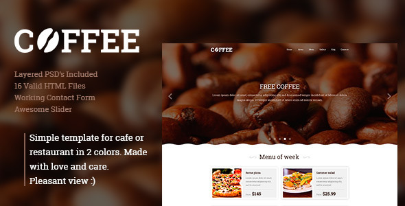 Download Coffee -  Responsive Restaurant Cafe Site Template Brown Html Templates