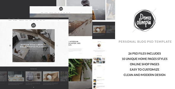 Download Demo Olimpia | Personal Blog PSD Template Store Blogger Templates