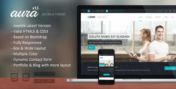 Download Aura - Responsive Multipurpose Joomla Template White Joomla Templates