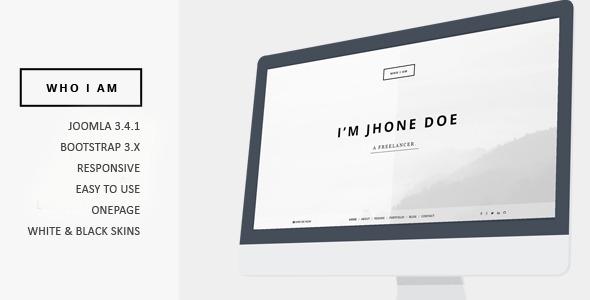 Download Who I am - Resume and Portfolio Joomla Template Black Joomla Templates