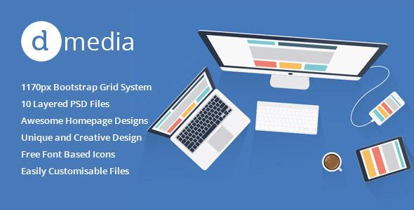 Download dMedia - Multi Purpose HTML5 Creative Template White Blogger Templates