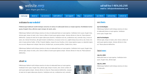 Download Website Corp  Elegant Blogger Templates