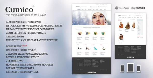 Download Cumico WP eCommerce theme Blue WordPress Themes