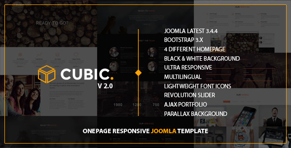 Download Cubic - One Page Responsive JOOMLA Template Video Joomla Templates