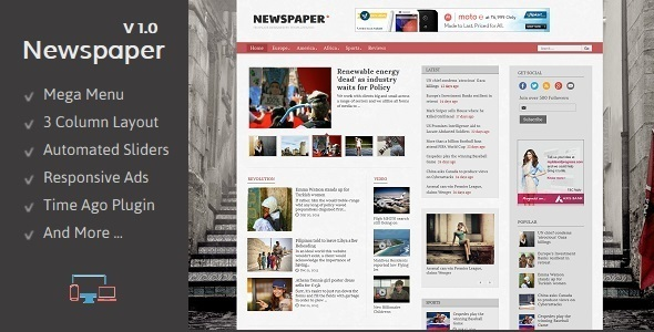 Download Newspaper - Responsive Blogger Template Video Blogger Templates