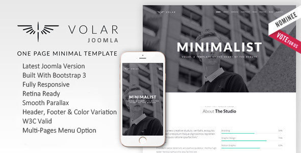 Download Volar | One Page Minimal Parallax Joomla Template  Simple Joomla Templates