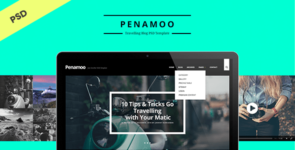 Download PENAMOO - Traveling Blog PSD Template Travel Blogger Templates