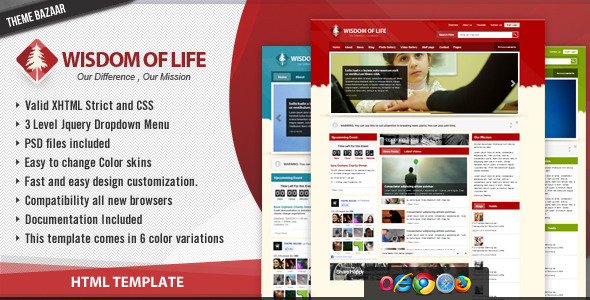 Download Wisdom of Life - HTML Template + PHP Contact Form Yellow Html Templates