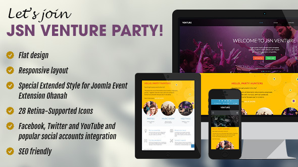 Download JSN Venture - Responsive Joomla Event Template Event Joomla Templates