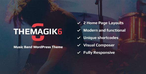 Download The Magic 6 - Music Band & Musician WordPress Theme Radio WordPress Themes