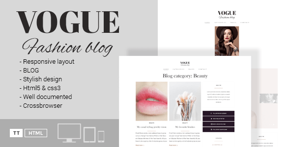 Download Vogue - A Fashion Blog HTML Template Fashion Blogger Templates