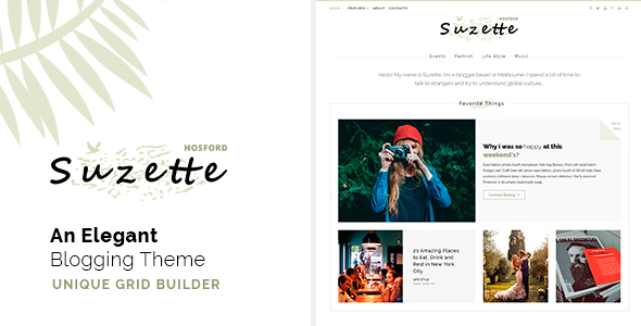 Download Suzette - An Elegant Blogging Theme - Just another HTML Template Music Blogger Templates