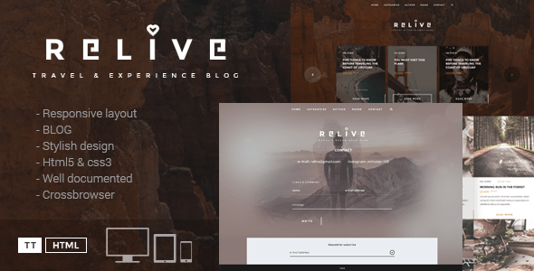 Download Relive - Traveling Blog HTML Travel Blogger Templates