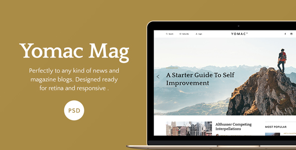 Download Yomac — Magazine and Blog PSD Template Newspaper Joomla Templates