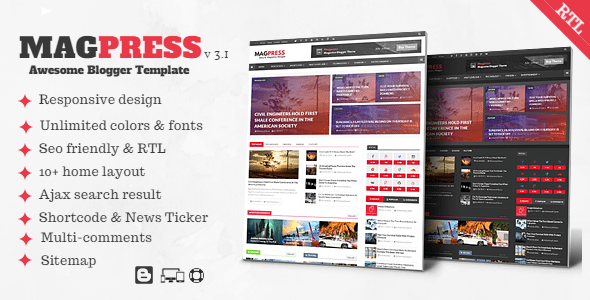 Download Magpress - Magazine Responsive Blogger Template Responsive Blogger Templates
