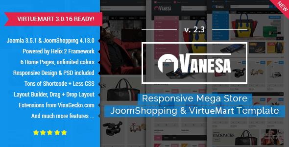 Download Vanesa | Mega Store Responsive Joomla Template Store Joomla Templates
