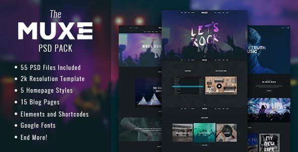 Download MUXE – Media oriented Musical PSD Template Music Joomla Templates