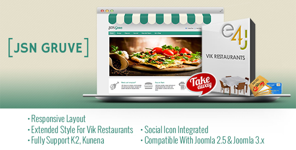 Download JSN Gruve-Responsive Joomla Restaurant Template Restaurant Joomla Templates
