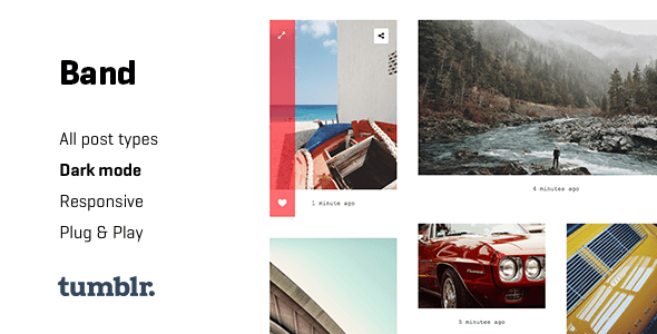 Download Band - Gallery Tumblr Theme with Dark Mode Photo Gallery Tumblr Themes