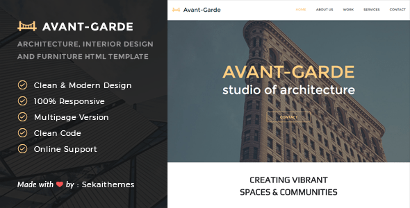Download Avant-Garde - Architecture, Interior design & Furniture HTML Template Furniture Html Templates