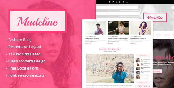 Download Madeline Fashion blog html Template Pink Blogger Templates