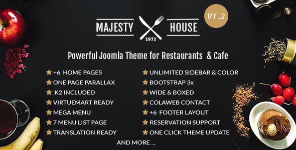 Download Majesty Multi-Cuisine Restaurants Joomla Template Restaurant Joomla Templates