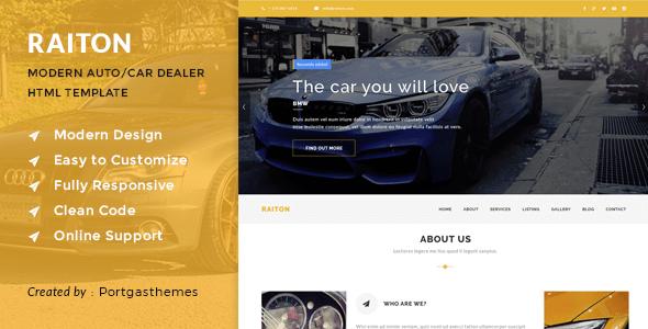 Download Raiton - Car Shop & Car Dealer HTML Template Car Html Templates