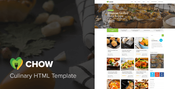 Download Chow - Recipes & Food Blog HTML Template Blog Html Templates