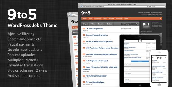 Download Nine to Five - Premium WordPress Jobs Theme Job WordPress Themes