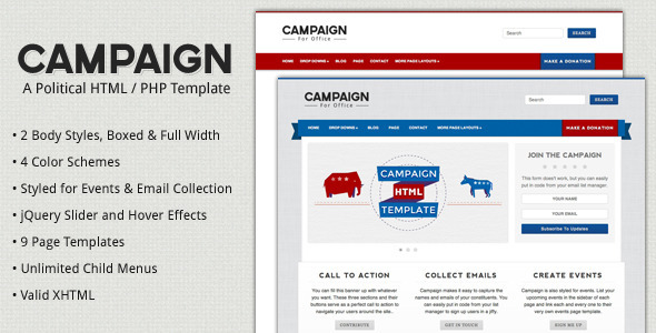 Download Campaign - Political HTML Template Yellow Html Templates