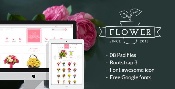 Download Flower Store PSD Design Template Pink Joomla Templates