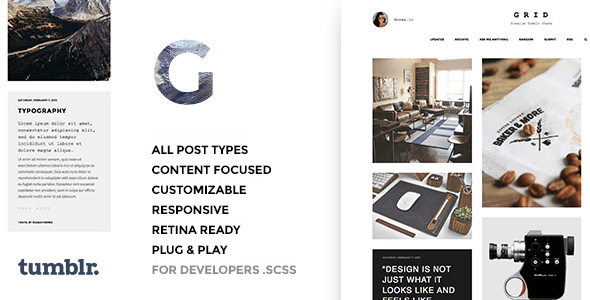 Download Grid - Responsive Portfolio - Tumblr Theme Simple Tumblr Themes