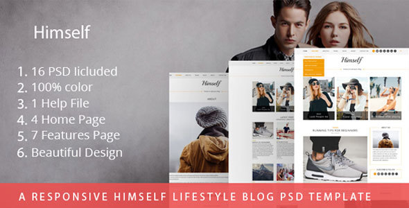 Download A Responsive Himself lifestyle Blog PSD Template Music Joomla Templates