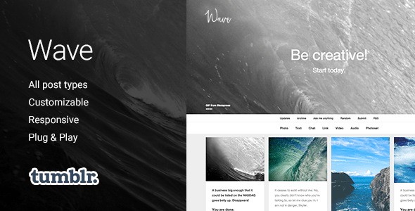 Download Wave | Grid-based, Responsive Portfolio Tumblr Theme Simple Tumblr Themes