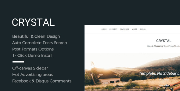Download Crystal - Beautiful, Clean and Fast WordPress Blog Theme Fast WordPress Themes