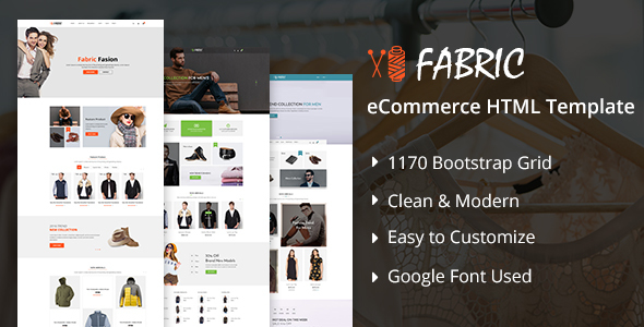 Download Fabric eCommerce HTML5 Template White Joomla Templates