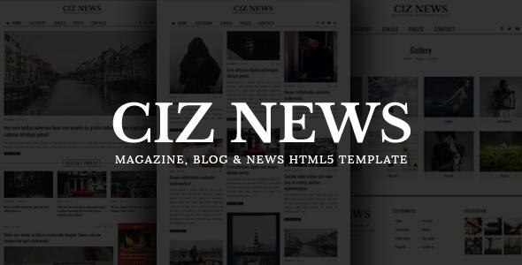 Download CIZ NEWS - Magazine, Blog & News HTML5 Template Pinterest Html Templates