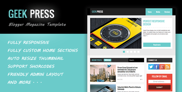 Download Geek Press - Responsive News & Magazine Blogger Template Magazine Blogger Templates