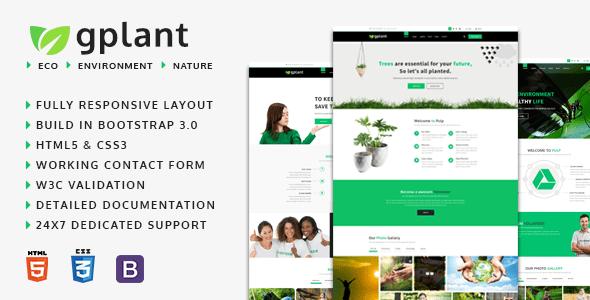 Download gPlant - Multipurpose ECO, Natural & Environmental HTML Template Green Html Templates