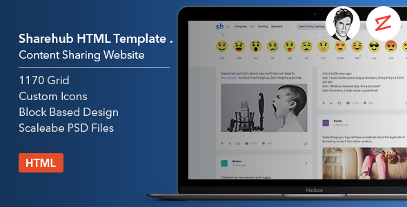 Download Sharehub Content Sharing HTML Template Pinterest Html Templates