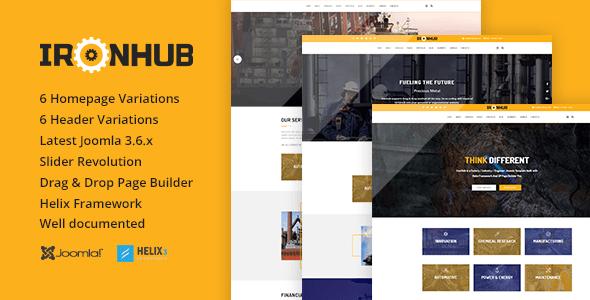 Download IronHub - Industrial / Factory / Engineering Joomla Template Html5 Joomla Templates