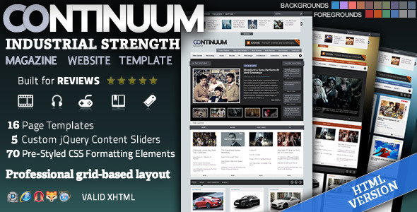 Download Continuum - Magazine HTML Theme Music Blogger Templates