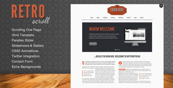Download Retro Scroll - Creative One Page Html Template Retro Html Templates